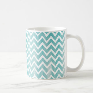 Light Blue Watercolor Chevron Pattern Coffee Mug