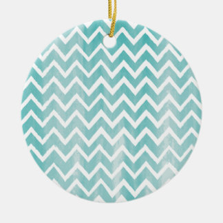 Light Blue Watercolor Chevron Pattern Round Ceramic Decoration
