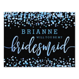 Light Blue Watercolor Will You Be My Bridesmaid Card