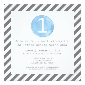 Light Blue Watercolor with Modern Stripes Card
