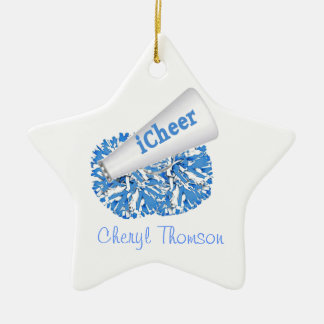 Light Blue & White Cheerleader ornament