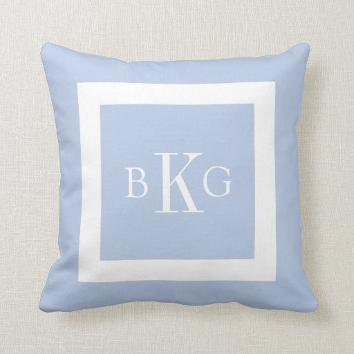 Light Blue White Custom Monogram Pillow