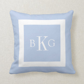 Light Blue White Custom Monogram Throw Cushion