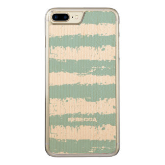 Light Blue & White Grunge Stripes Pattern Carved iPhone 8 Plus/7 Plus Case
