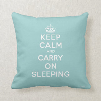 Light Blue White Keep Calm and Carry On Sleeping Cushion