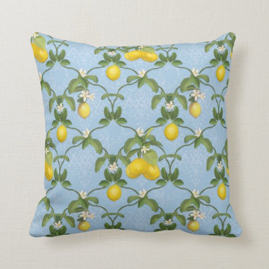 Light Blue White Pattern Lemon Leaf Trellis Floral