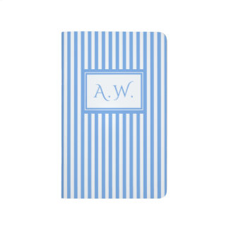 Light Blue & White Sailor Stripes Monogram Journal