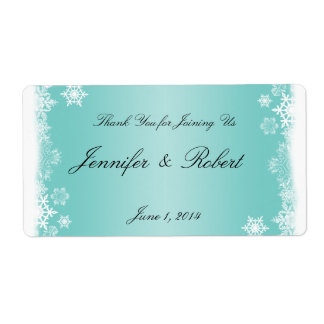 Light Blue White Snowflakes Wedding Water Label Shipping Label