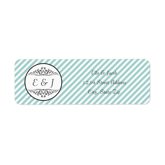 Light Blue White Striped Flourish Address Labels