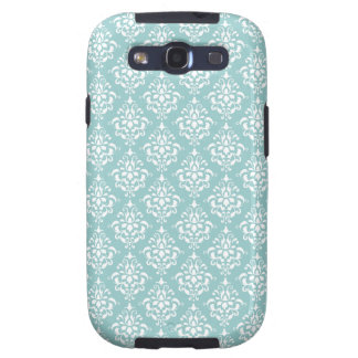 Light Blue White Vintage Damask Pattern 1 Galaxy SIII Covers