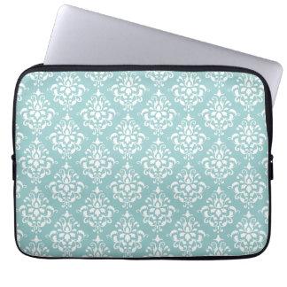 Light Blue White Vintage Damask Pattern 1 Laptop Sleeve