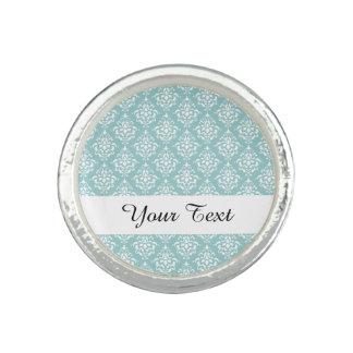 Light Blue White Vintage Damask Pattern 1