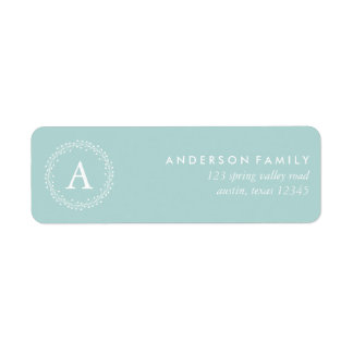 Light Blue Winter Wreath Return Address Label