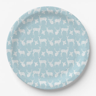 Light Blue With White Deer Paper Plates