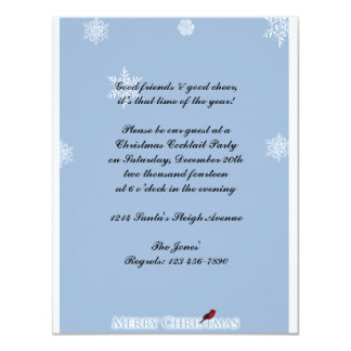 Light Blue with White Snowflakes and Red Cardinal 11 Cm X 14 Cm Invitation Card