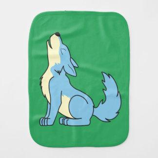 Light Blue Wolf Pup Howling Baby Burp Cloth