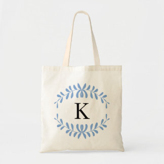 Light Blue Wreath Personalized Monogram Budget Tote Bag