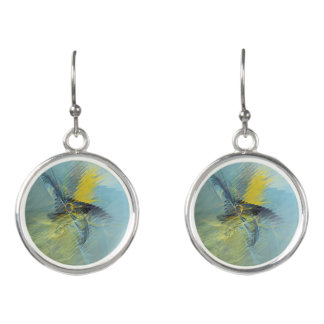 Light Blue Yellow Abstract Fractal Earrings