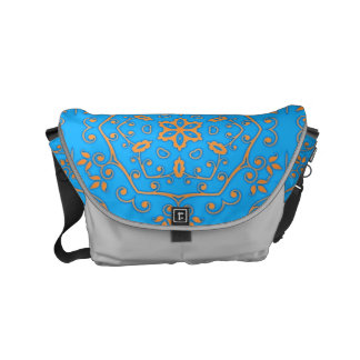 light blue & yellow floral geometric courier bag