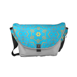light blue & yellow floral geometric messenger bags