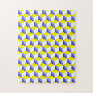 Light Blue Yellow White Shaded 3D Look Cubes Jigsaw Puzzle