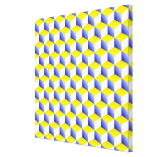 Light Blue Yellow White Shaded 3D Look Cubes Stretched Canvas Prints