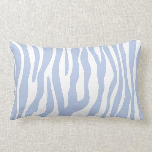 Light Blue Zebra Animal Print Pattern Pillow