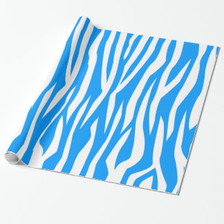 Light Blue Zebra Print Wrapping Paper