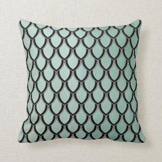 Light Bluegree Dragon Scale Watercolor Wash Pillow Cushion