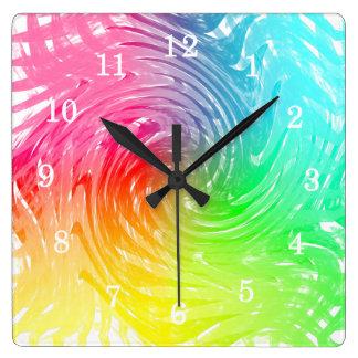Light Bright Rainbow Abstract Swirly Patterned Clocks