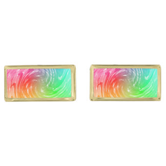 Light Bright Rainbow Abstract Swirly Patterned Gold Finish Cuff Links