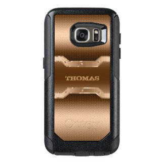 Light Brown And Gold Tones Brushed Metal Look OtterBox Samsung Galaxy S7 Case