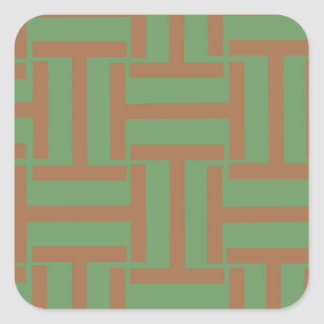 Light Brown and Green T Weave Square Sticker