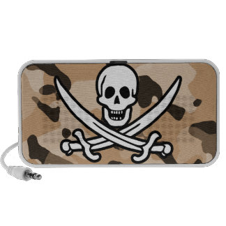 Light Brown Camo Jolly Roger Pirate iPod Speakers