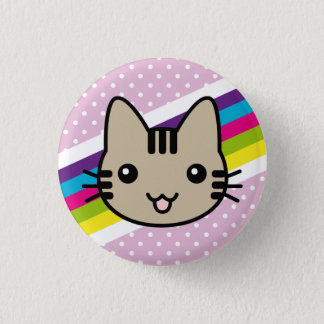 light brown  cat polka dots 3 cm round badge