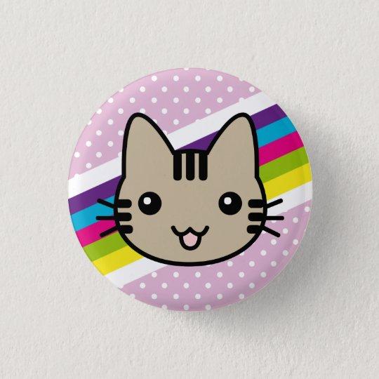 light brown  cat polka dots 3 cm round badge