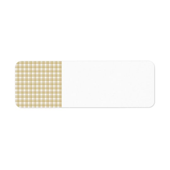 Light brown check pattern. Beige gingham. Return Address Label