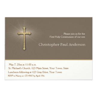 Light Brown Gold Cross Religious Invitation