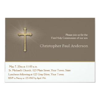 Light Brown, Gold Cross, Religious Invitation