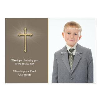Light Brown, Gold Cross, Religious Photo Card 13 Cm X 18 Cm Invitation Card