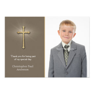 Light Brown Gold Cross Religious Photo Card