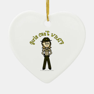 Light Brown Sheriff Girl Ceramic Heart Decoration