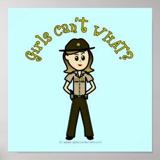 Light Brown Sheriff Girl Poster
