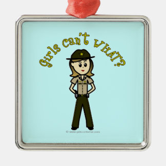 Light Brown Sheriff Girl Silver-Colored Square Decoration