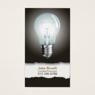 Light Bulb Black Business Card