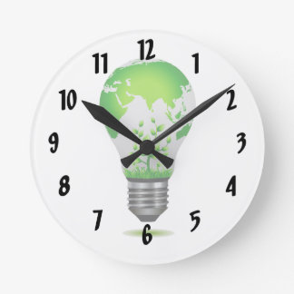 light bulb design with globe and plants ecology.pn wall clock