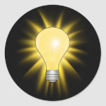 Light Bulb - Dim The Lights Round Stickers