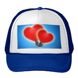 Light bulb hearts trucker hats
