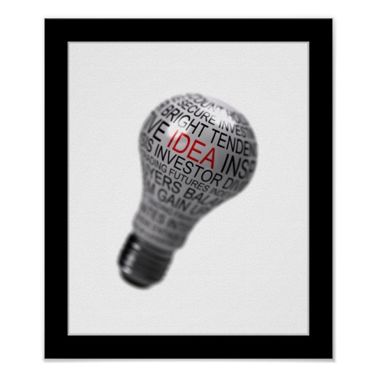 Light bulb idea concept poster