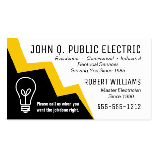 Light Bulb Lightning Bolt Electrician Electrical Pack Of Standard Business Cards